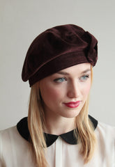 Brown 1940s Bow Beret - Anna Chocola Millinery