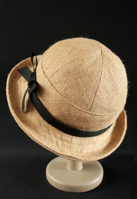 "Black Bow Hessian ""Croisette"" Cloche Hat"