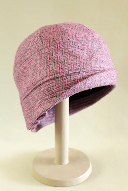 Pink Herringbone Cloche Hat
