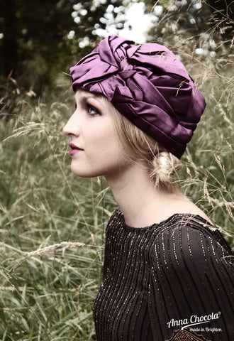 "Purple Satin ""Luxe"" Turban"