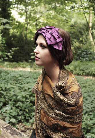 "Aubergine Satin ""Origami"" Headpiece"