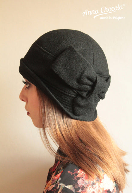 "Black Wool ""Sasha"" Cloche Hat"