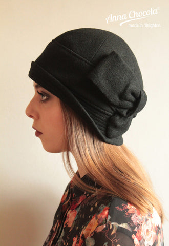 "Black Wool ""Sasha"" Cloche"