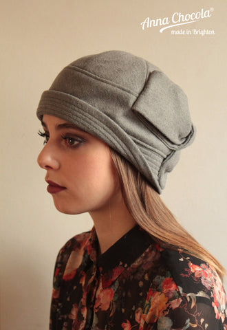 "Grey 100% Wool ""Sasha"" Cloche"