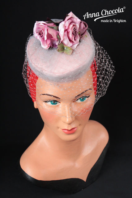 "Pink Rose Silk Base & Grey Tulle ""Coquette"" Pillbox"