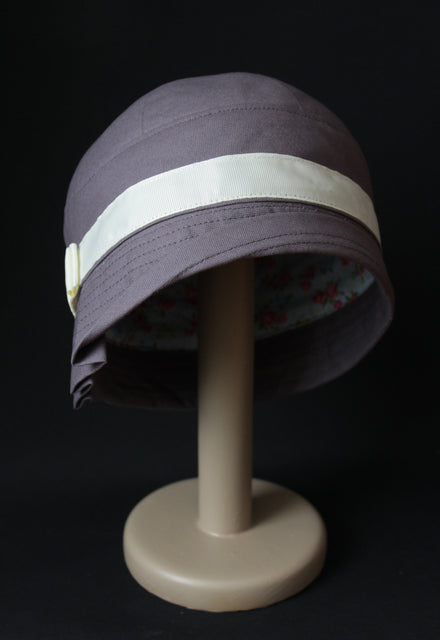"Dark Grey Cotton ""Inès"" Cloche Hat"