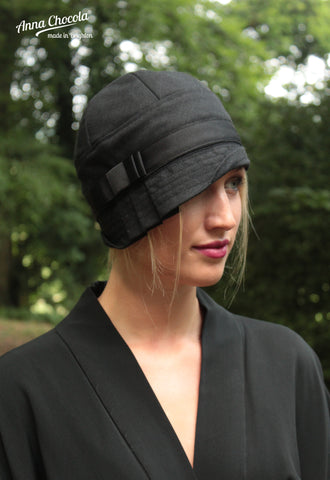 "Black Wool ""Inès"" Cloche Hat"