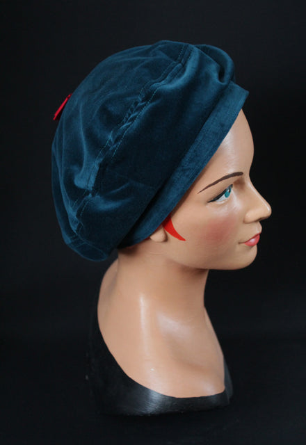 Teal 1930s Beret with Red Bow