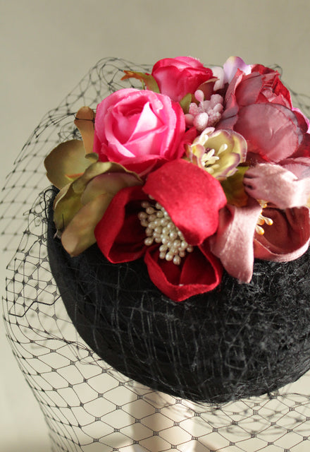 "Black Birdcage Veil Flower ""Coquette"" Pillbox"