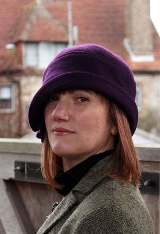 "Purple Wool ""Inès"" Cloche Hat"