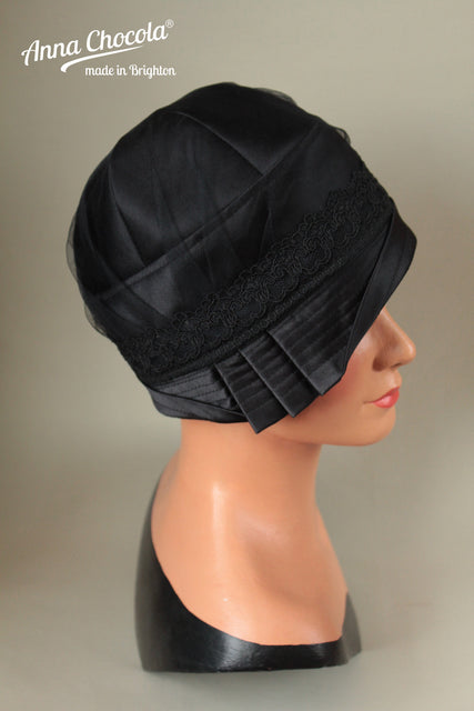 "Black Satin ""Inès"" Cloche Hat with Black Lace"