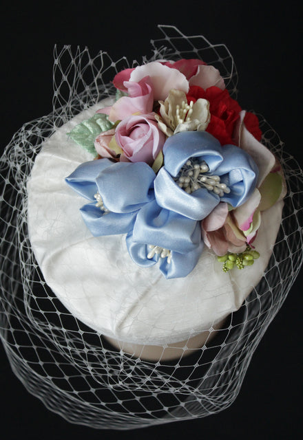 "Ivory Bridal ""Coquette"" Pillbox with Powder Blue Flowers"