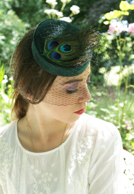 "Green Velvet ""Coquette"" Pillbox with Peacock Feathers"