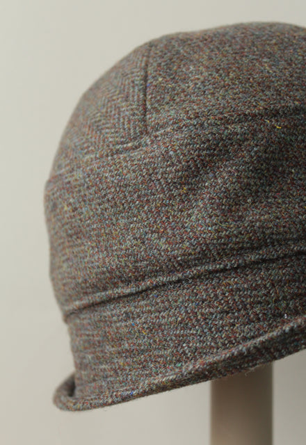 Green Brown Herringbone Cloche Hat
