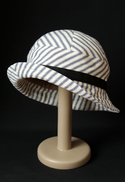 "Ticking ""Croisette"" Cloche Hat"