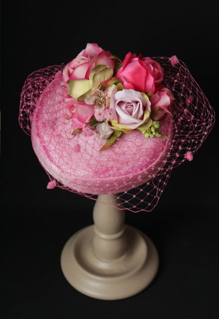 "Pretty Pink ""Coquette"" Pillbox with Roses"
