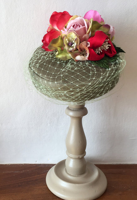 "Pink, Red and Green Silk ""Coquette"" Pillbox Hat"