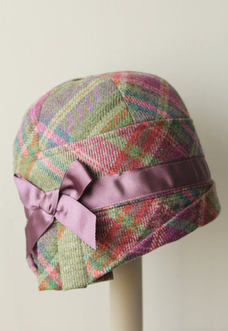 Green Plaid Cloche Hat