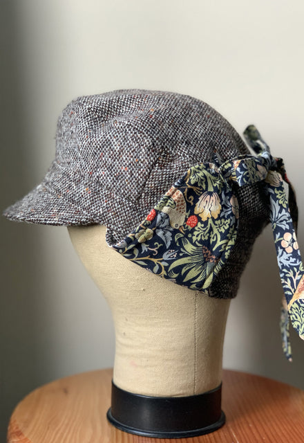 Strawberry Thief Earflaps Wool Tweed Cap