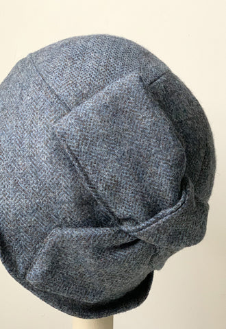 "Blue Grey Herringbone ""Sasha"" Cloche Hat"