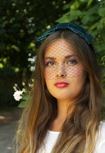 "Teal ""Joli Blush"" Veil Headband"