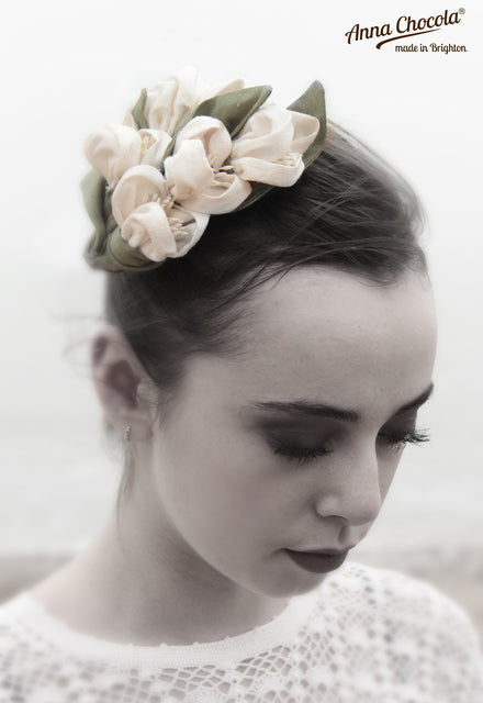 Ivory Handmade Silk Flowers Headpiece