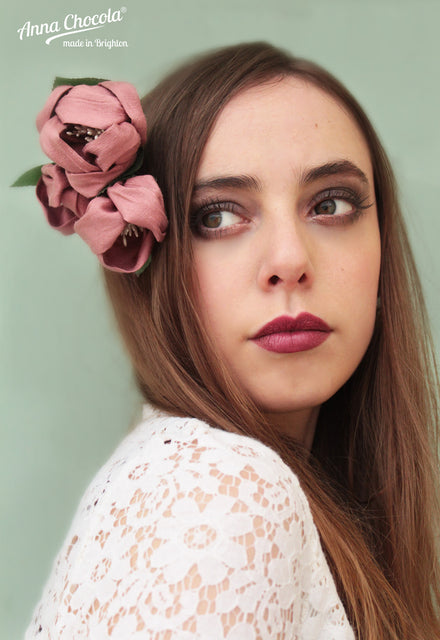 Dusky Pink Handmade Silk Flowers Headpiece