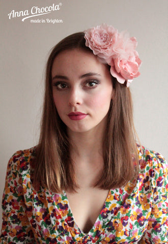 "Powder Pink Flowers ""Sarah"" Headpiece"