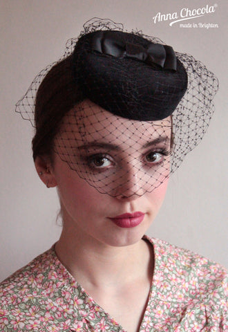 Black Birdcage Veil Coquette Pillbox