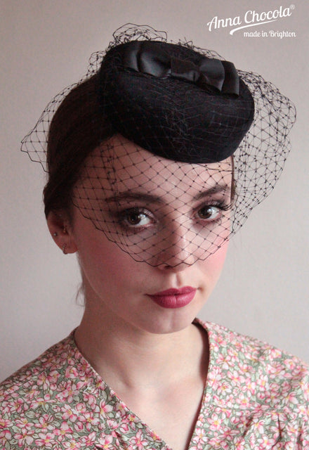 Black Birdcage Veil Coquette Pillbox with Double Bow – Anna Chocola fc6a5e53fc4
