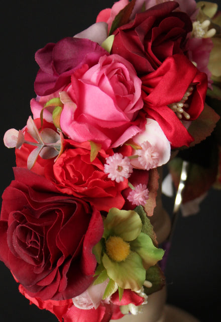 Red and Pink Flower Crown Headband