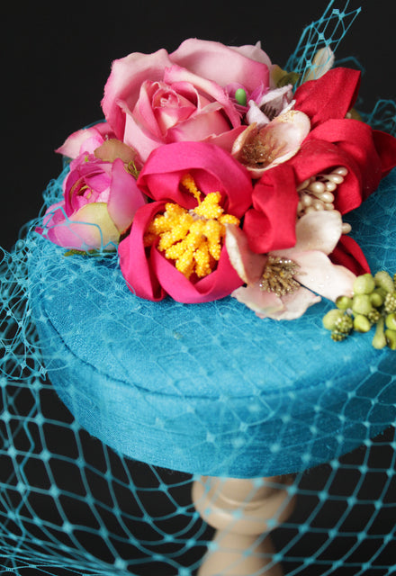"Teal, Pink and Red Handmade Silk Flowers ""Coquette"" Pillbox"