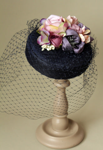 "Dark Blue Silk ""Coquette"" Pillbox with Mauve Flowers"