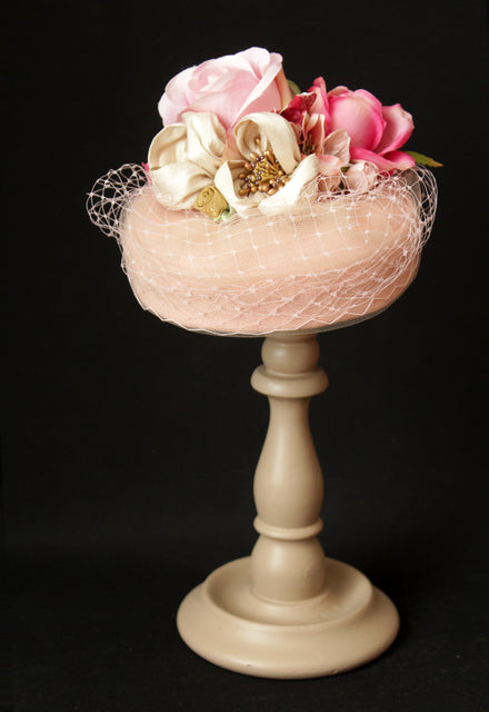 "Powder Pink ""Coquette"" Pillbox with Roses"