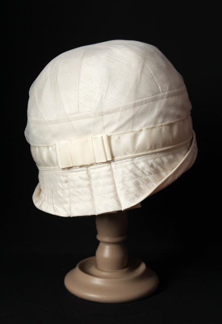 "Bridal Ivory Satin ""Inès"" Cloche Hat"