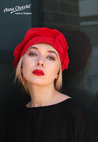 Red 1940s Bow Beret