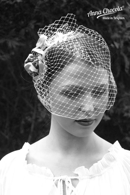 Birdcage Veil with Silk Handmade Flowers
