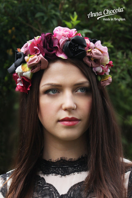 Colourful Pink & Black Handmade Silk & Satin Flower Crown