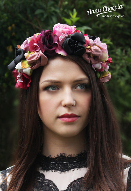 fbd8f6059 Colourful Pink & Black Handmade Silk & Satin Flower Crown