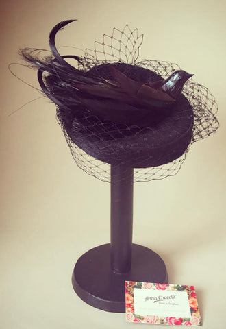 Black Bird Coquette Pillbox Hat