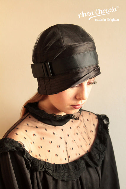 "Black Satin ""Inès"" Cloche Hat"