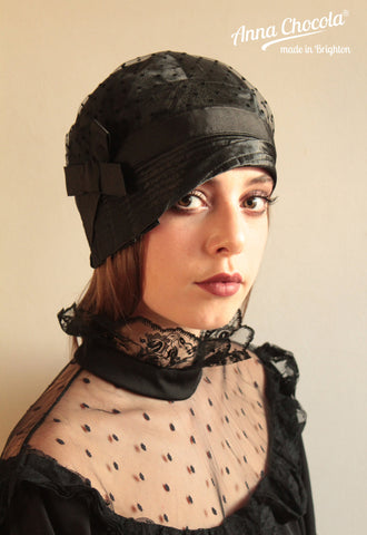 "Black Satin & Plumetis Tulle ""Inès"" Cloche Hat"