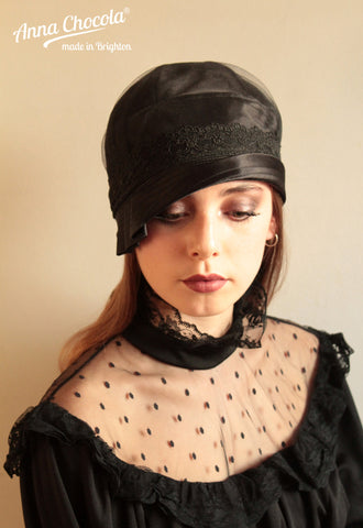 "Black Satin ""Inès"" Cloche with Black Lace"