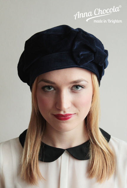 Navy Cotton 1940s Bow Beret