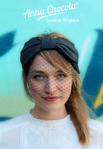 "Black ""Darling"" Bow Headpiece"