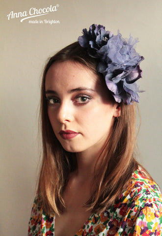 "Blue ""Sarah"" flower headpiece"