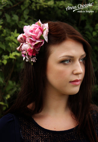 "Pink Flowers ""Petit Jardin"" Headpiece"