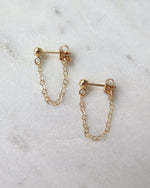 CHAIN STUD EARRINGS- 14k Yellow Gold