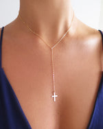 CROSS DROP NECKLACE- 14k Yellow Gold