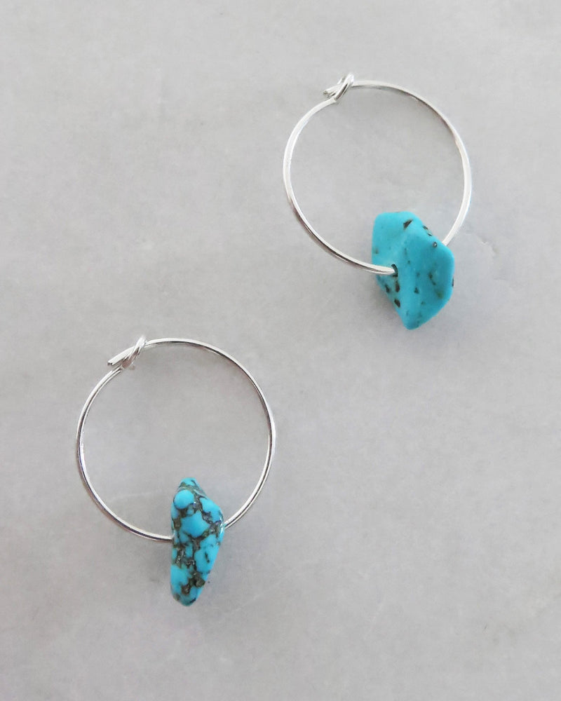 TURQUOISE HOOP EARRINGS- Sterling Silver